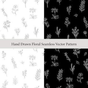 Hand gezeichnetes nahtloses muster der blumenniederlassungen