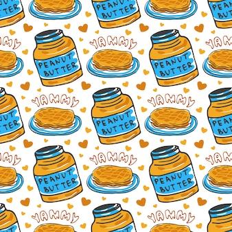 Hand gezeichnetes nahtloses muster der erdnussbutter. vektorhintergrund mit frühstückspfannkuchen. zum verpacken und verpacken von lebensmitteldesign.