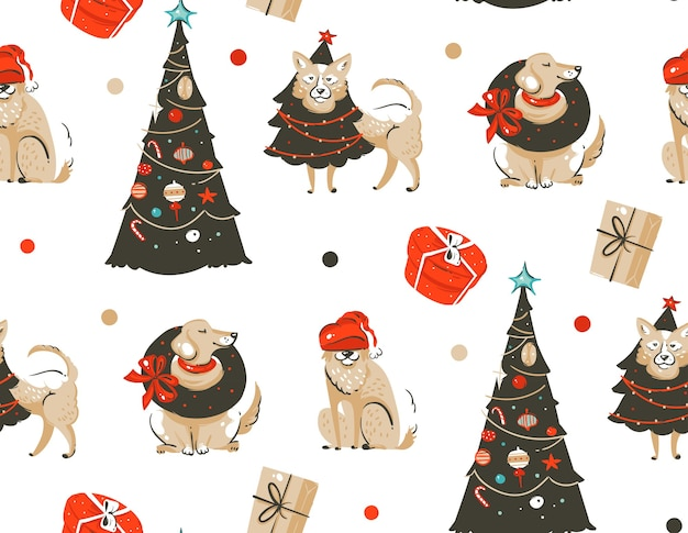 Hand gezeichnetes nahtloses muster der frohen weihnachtszeit mit niedlichen lustigen hunden