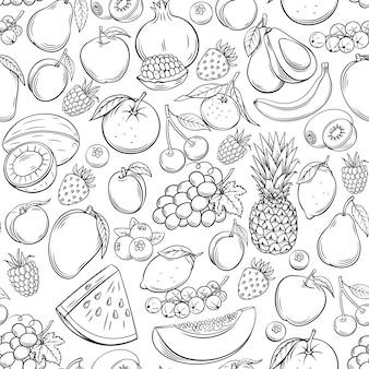 Hand gezeichnetes nahtloses muster der früchte.