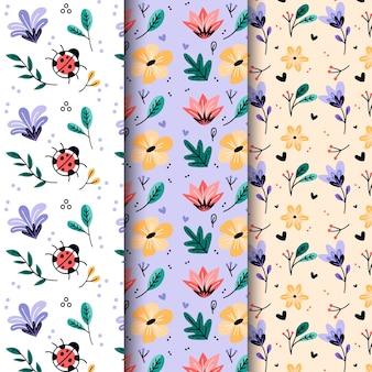 Hand gezeichnetes nahtloses muster der frühlingsblumen und -blätter