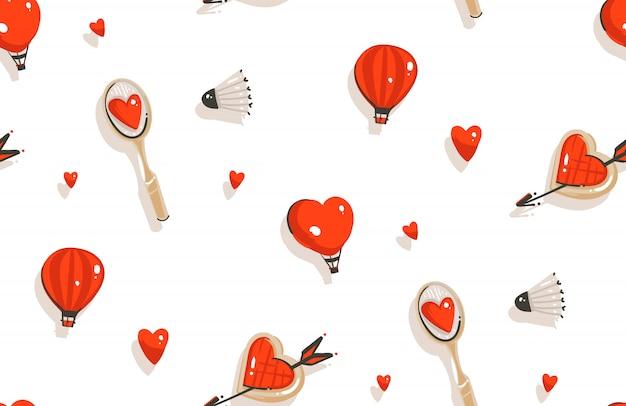 Hand gezeichnetes nahtloses muster der glücklichen valentinstag-konzeptillustrationen mit badmintonschläger, kekse lokalisiert auf weißem hintergrund