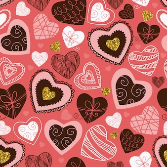 Hand gezeichnetes nahtloses muster der herzen, rosa hintergrund