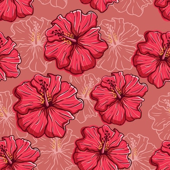 Hand gezeichnetes nahtloses muster der hibiskusblume auf rotem hintergrund