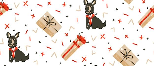 Hand gezeichnetes nahtloses muster der karikaturillustrationen der frohen weihnachtszeit mit hunden