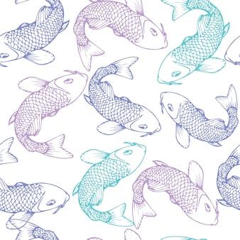 Hand gezeichnetes nahtloses muster der koi fischvektor-illustration