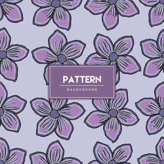 Hand gezeichnetes nahtloses muster der lila blumen Premium Vektoren