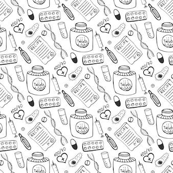 Hand gezeichnetes nahtloses muster der medizin. doddle skizze gesundheitswesen und medizinischen hintergrund