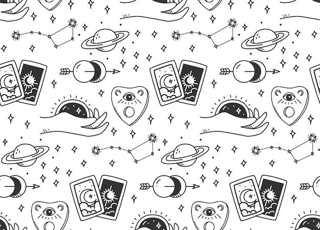 Hand gezeichnetes nahtloses muster der mystischen astronomie