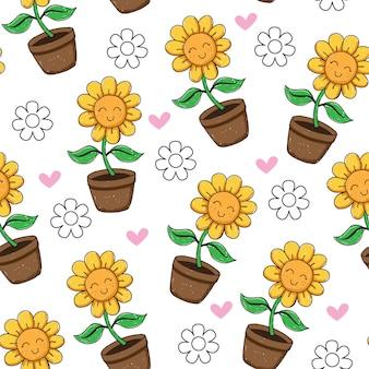Hand gezeichnetes nahtloses muster der netten sonnenblume