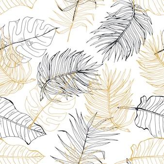 Hand gezeichnetes nahtloses muster der palmblattgoldlinie hand