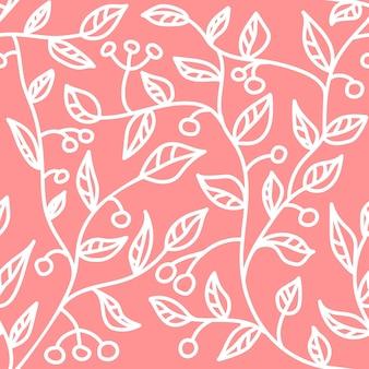 Hand gezeichnetes nahtloses muster der pflanze mit blättern und beeren blumenhintergrund