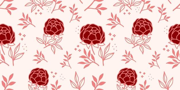 Hand gezeichnetes nahtloses muster der rosa blume und des blattes