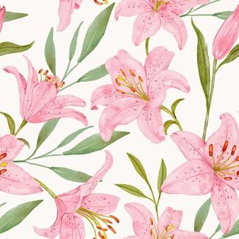 Hand gezeichnetes nahtloses muster der rosa lilie