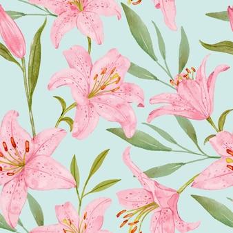 Hand gezeichnetes nahtloses muster der rosa lilienblume