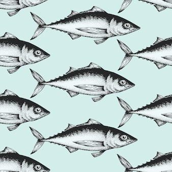 Hand gezeichnetes nahtloses muster der skizzenmeeresfrüchte mit fischen.