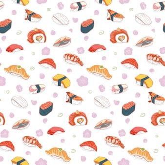 Hand gezeichnetes nahtloses muster der sushi