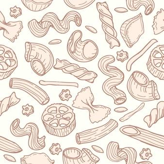 Hand gezeichnetes nahtloses muster der teigwaren