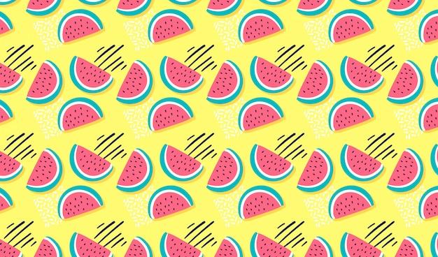 Hand gezeichnetes nahtloses muster der wassermelone