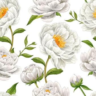 Hand gezeichnetes nahtloses muster der weißen pfingstrosenblume