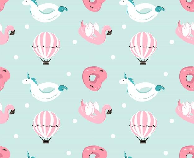 Hand gezeichnetes nahtloses muster des abstrakten sommerzeitspaßes mit rosa flamingoschwimmer, einhornschwimmbadboje, herzformkreis und heißluftballon auf blauem wasserhintergrund