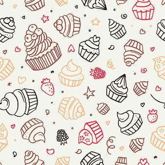 Hand gezeichnetes nahtloses muster des cupcake-gekritzelhintergrunds