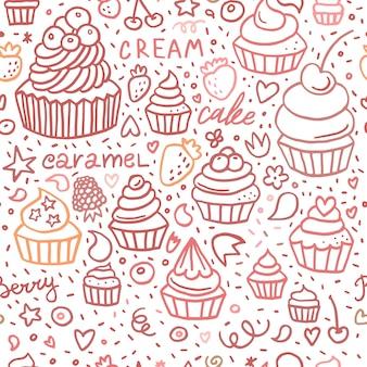 Hand gezeichnetes nahtloses muster des cupcake-kritzels mit dessertbeeren und beschriftung