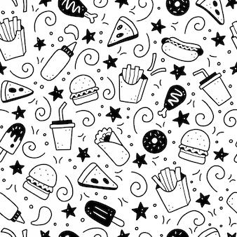 Hand gezeichnetes nahtloses muster des fast-food-gekritzels. illustration.