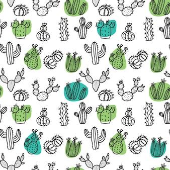 Hand gezeichnetes nahtloses muster des kaktusgekritzels