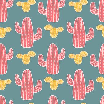 Hand gezeichnetes nahtloses muster des netten kaktus