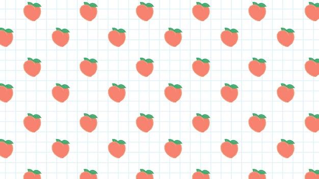 Hand gezeichnetes nahtloses muster des pfirsichs auf weißem gitter