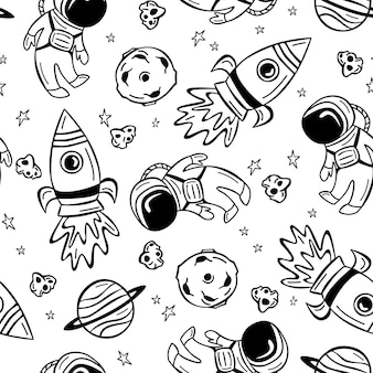Hand gezeichnetes nahtloses muster mit astronaut, rakete und planeten im gekritzelstil.