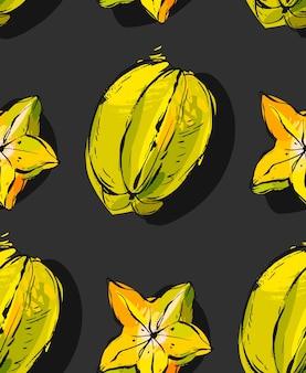 Hand gezeichnetes nahtloses muster mit exotischer tropischer fruchtkarambola