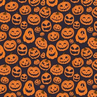 Hand gezeichnetes nahtloses muster mit halloween-kürbis