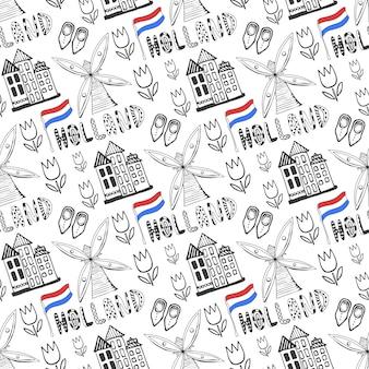 Hand gezeichnetes nahtloses muster mit holland-kulturelementen. niederländischer hintergrund für design. vektor-illustration.