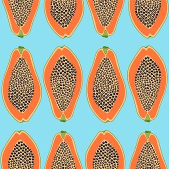 Hand gezeichnetes nahtloses muster mit papayas.
