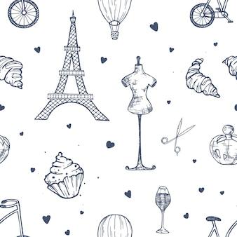 Hand gezeichnetes nahtloses muster mit paris- und frankreichsymbolen