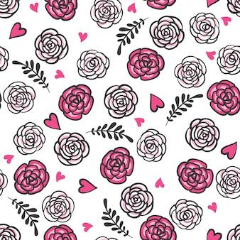 Hand gezeichnetes nahtloses muster mit rosen und herzen.