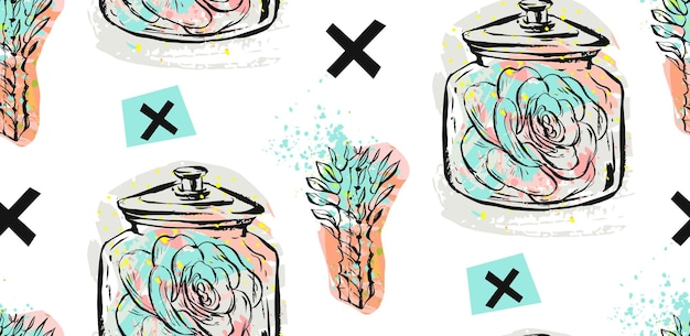 Hand gezeichnetes nahtloses muster mit saftigen pflanzen im glas und kreuze in pastellfarbe isoliert