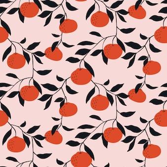 Hand gezeichnetes nahtloses muster mit tangerinen.