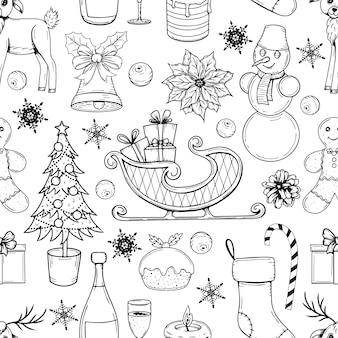 Hand gezeichnetes nahtloses muster mit weihnachtselementen auf weißem hintergrund.