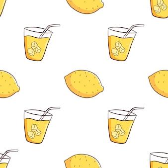 Hand gezeichnetes nahtloses muster mit zitrone und limonade