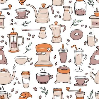Hand gezeichnetes nahtloses muster verschiedener arten kaffeetasse, tasse, kanne, kaffeemaschine. gekritzel-skizzenstil.