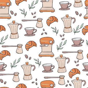 Hand gezeichnetes nahtloses muster verschiedener arten von kaffeetassen