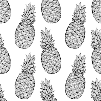 Hand gezeichnetes nahtloses muster von der ananas. illustration. endloses bild. gekritzel. skizzieren.