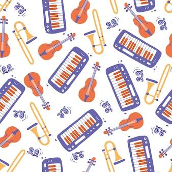 Hand gezeichnetes nahtloses muster von musikinstrumenten