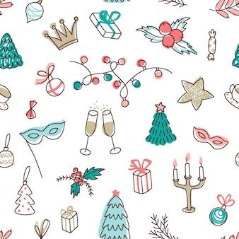 Hand gezeichnetes nahtloses muster von weihnachten und neujahr mit feiertagselementen