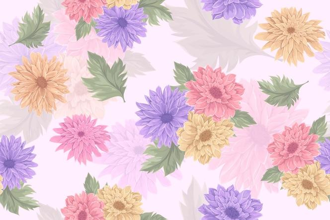 hand gezeichnetes nahtloses musterdesign der chrysanthemeblume