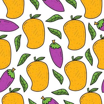 Hand gezeichnetes nahtloses musterdesign der karikaturgekritzelfrucht
