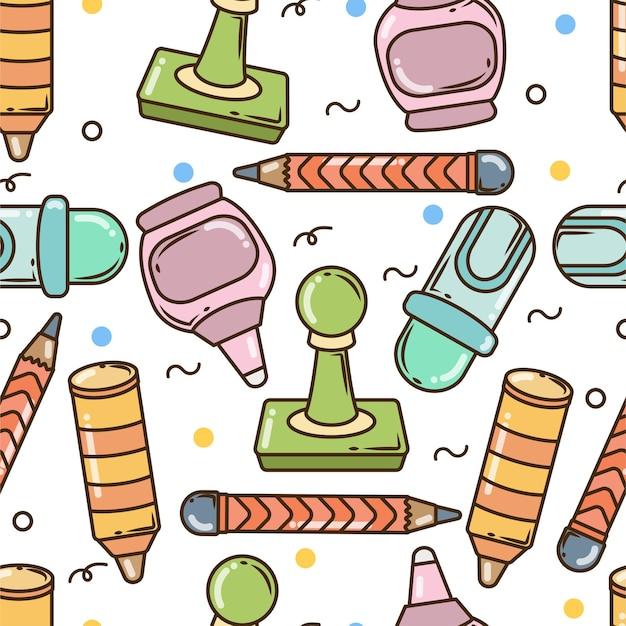 Hand gezeichnetes nahtloses musterdesign der karikaturgekritzelschuleelemente